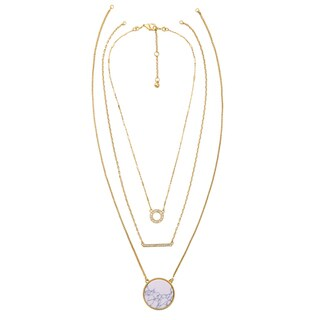 Mint Jules 3 In 1 Multi Strand Marble and Rhine Stone Circle and Bar Layering Necklace|https://ak1.ostkcdn.com/images/products/18520553/P24630117.jpg?_ostk_perf_=percv&impolicy=medium