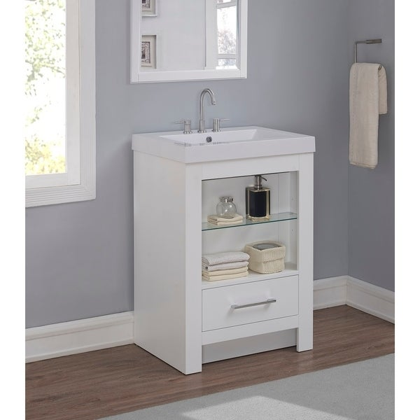 Runfine 24 Inch Bathroom Vanity With Cultured Marble Top White Finish
