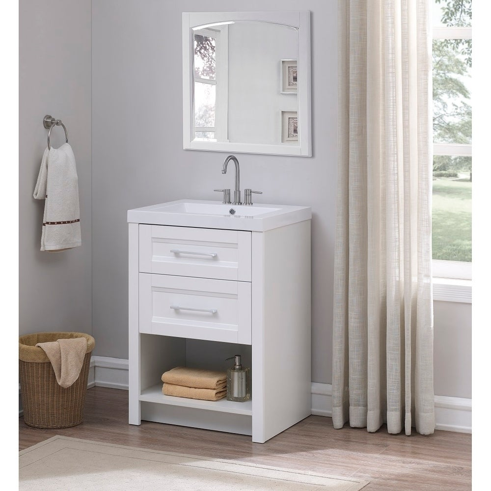 Runfine 24 Inch Bathroom Vanity with cultured marble White ...