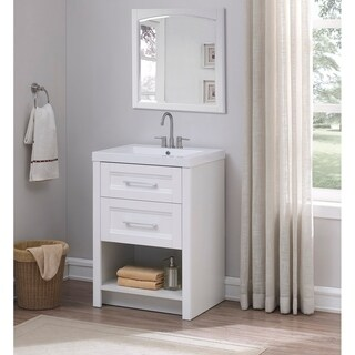 Runfine 24 Inch Bathroom Vanity with cultured marble top,White finish - White