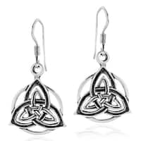 Handmade Intricate Celtic Trinity Knot Sterling Silver Dangle Earrings (Thailand)