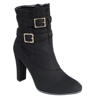 Forever FN78 Women's Ankle Straps Zipper Wrapped Chunky Heel Booties