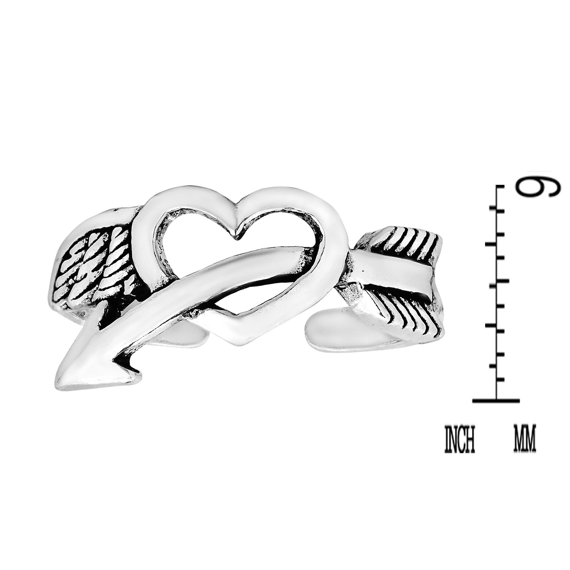 .925 Sterling Silver Heart with Arrow Toe Ring