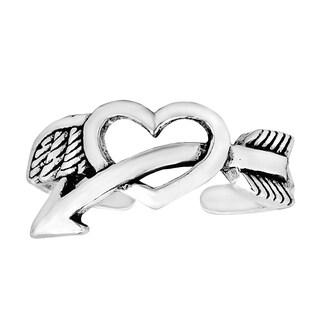 Lovestruck Arrow Through Heart Sterling Silver Toe Ring (Thailand)