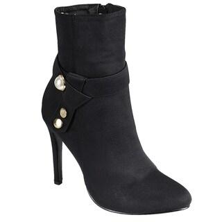 Forever FN83 Women's Pearl Strap Side Zipper Wrapped Heel Anle Booties