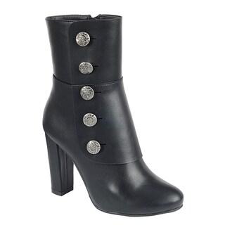 Forever FN88 Women's Side Zipper Chunky Heel Metallic Button Booties