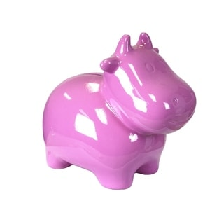 Decorative Ceramic Cow Bank Figurine, Pink