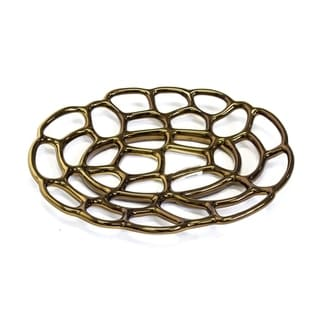 Ceramic Flat Decorative Tray, Bronze