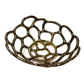 Ceramic Round Decorative Tray, Bronze