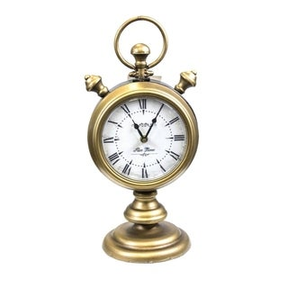 Vintage Style Two Sided Metal Table Clock, Gold