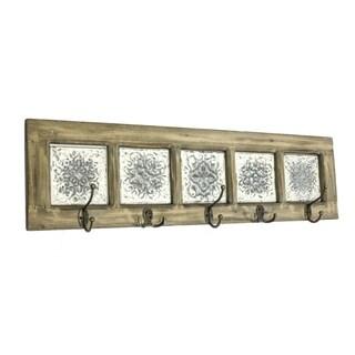 Vintage Style Metal & Wood Wall Hooks, Brown