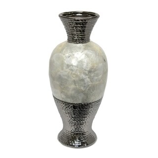Well-Designed Ceramic Pearl Rotund Vase, Silver And White