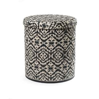 Fab Habitat Handmade Outdoor Storage Pouf - Kilimanjaro - Black|https://ak1.ostkcdn.com/images/products/18522985/P24632226.jpg?impolicy=medium