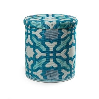 Fab Habitat Handmade Outdoor Storage Pouf - Seville Multicolor - Blue