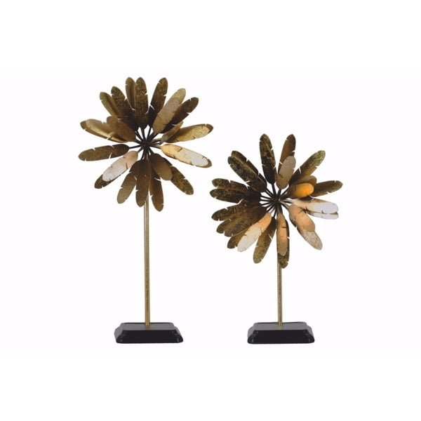 Metal Bloomed Flower Tabletop Ornament - Set of 2 - Gold