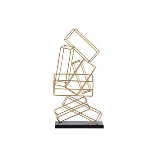 Metal Cascading Rectangular Prisms Sculpture on Square Base- Gold