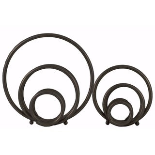 Metal Round Abstract Design Sculpture Set of 2 - Black