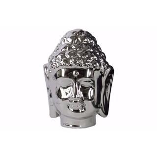 Porcelain Buddha Head with Beaded Ushnisha - Silver