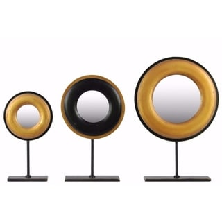 Wood Round Sculpture with Mirror Set of 3 - Gold and Black