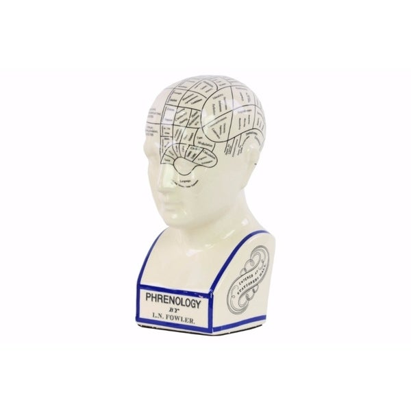 Phrenology Ceramic Bust with Printed Labels- Large- White