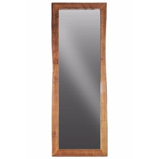 Benzara Brown Wood-framed Rectangular Wall-leaning Mirror