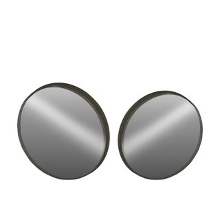 Metal Round Wall Mirror, Set of 2- Small- Black