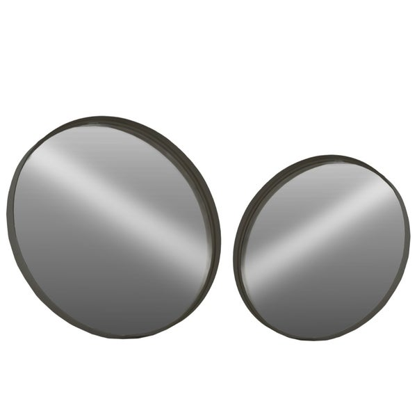 Fine Crafted Metal Round Wall Mirror, Set of 2- Large- Black