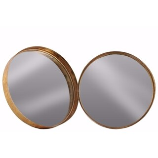 Tarnished Metal Round Wall Mirror Set of Two- Copper