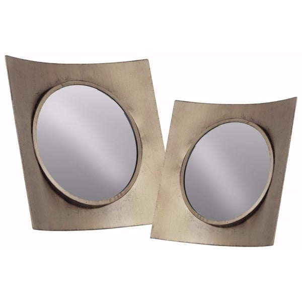 Metal Wall Mirror with Wood Frame Set of 2 - Silver