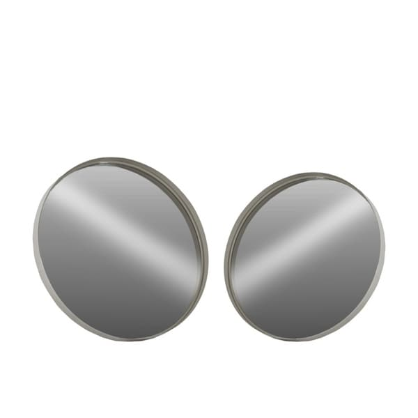 Captivating Metal Round Wall Mirror, Set of 2- Small- Gray