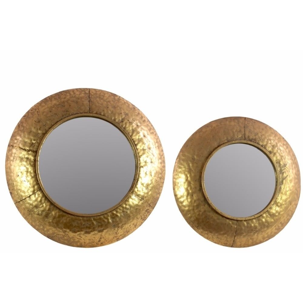 Benzara Convex Wall Mirror with Dimpled Design Frame Set ...