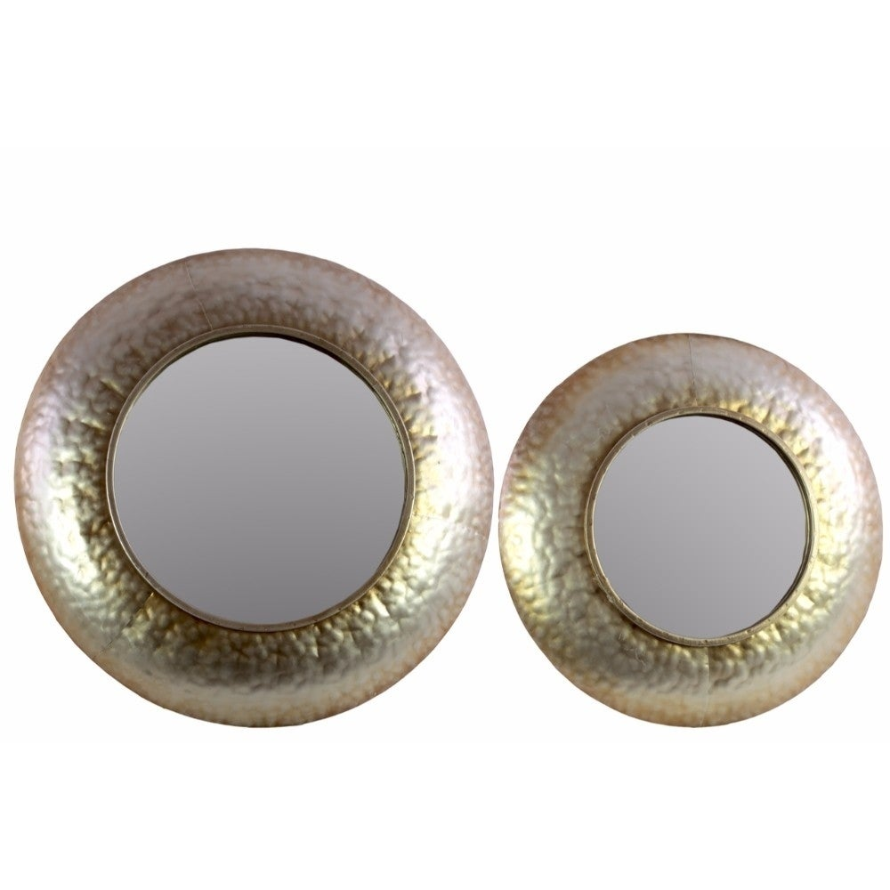 Benzara Round Convex Wall Mirror with Dimpled Design Fram...