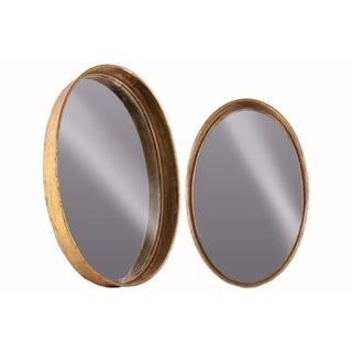 Tarnished Look Metal Oval Wall Mirror Set of Two- Copper
