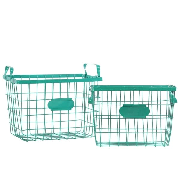 Wire Basket with Handles and Card Holders Set of Two - Green