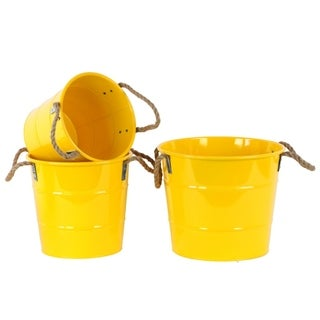 Zinc Round Bucket with 2 Rope Handles Set of 3- Yellow