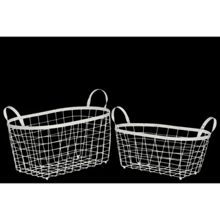 Rectangular Wire Basket with Handles and Mesh Body Set of Two White