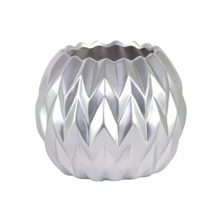 Ceramic Round Low Vase with Uneven Lip- Large- Silver