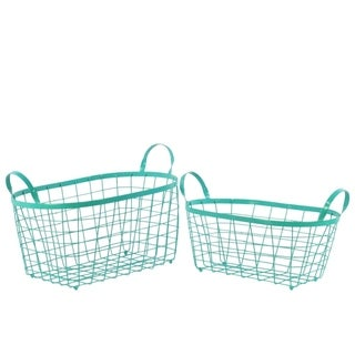 Rectangular Wire Basket with Handles and Mesh Body Set of Two Blue
