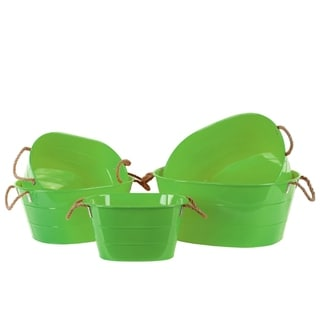 Swish Oval Bucket with 2 Rope Handles Set of 5- Green