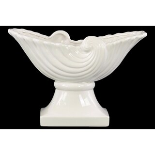 Partial Seashell Bowl with Wave Design on Pedestal - White