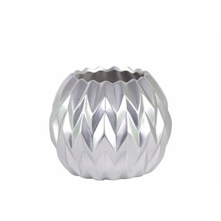 Round Low Vase with Uneven Lip, Wave Design- Small- Silver