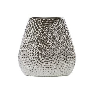 Elliptical Bellied Vase With Bead Design - Silver