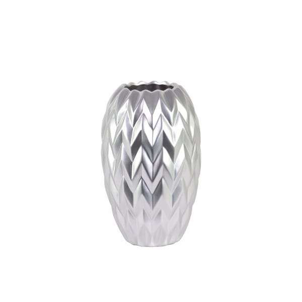 Round Vase Embossed Wave Design And Rounded Bottom Small Silver