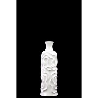 Small Cylindrical Vase With Neck And Wrinkled Sides - White