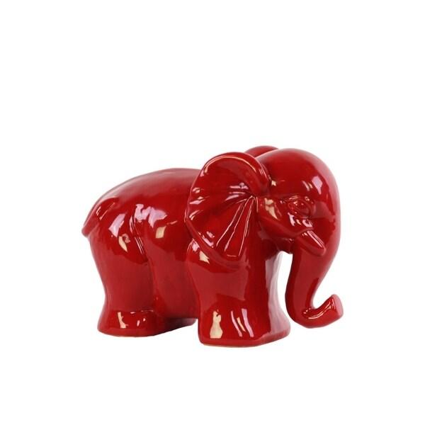 Modern Standing Elephant Figurine- Small- Red