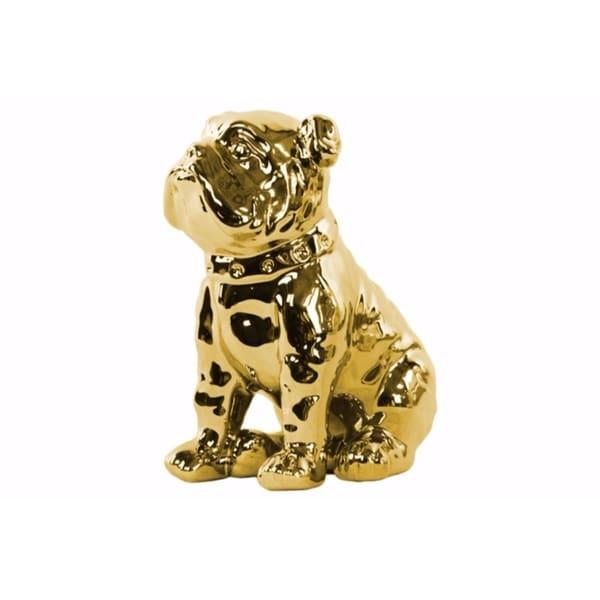 Sitting British Bulldog Figurine with Collar - Gold