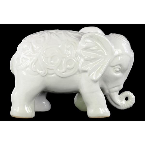 Standing Elephant Figurine with Embossed Swirl Design White