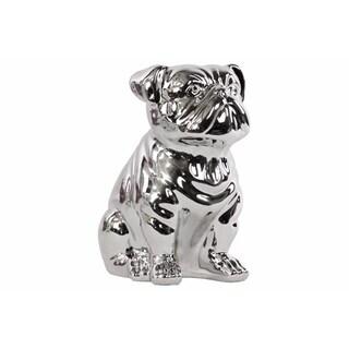 Ceramic Sitting British Bulldog Figurine Polished - Silver
