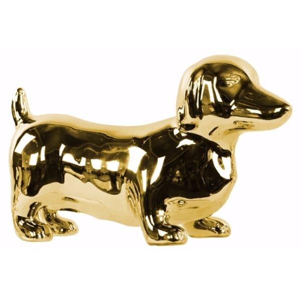 Standing Dachshund Dog Figurine Polished Chrome Finish Gold