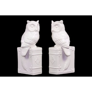 Owl on Book Base Bookend Assortment of 2 - White